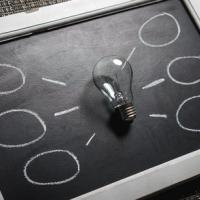 Chalkboard with lightbulb