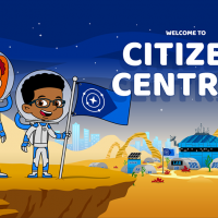 """Screenshot showing two cartoon children in astronaut suits, with the caption """"Welcome to Citizen Central"""""""