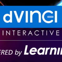 """Badge reading """"d'Vinci Interactive – Powered by Learning"""""""