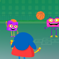 A group of animated characters playing with a basketball on a playground