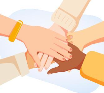 Illustration of several hands in a huddle