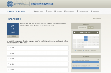 Screenshot of the Question of the Week project on a smart tablet