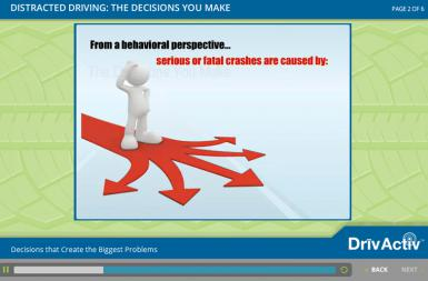 Screenshot of the Delivering Online Driver Safety Training with ecoLearn®  project on a smart tablet