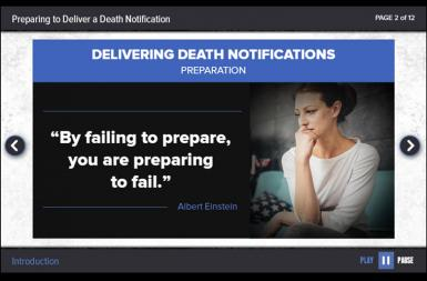 Screenshot of the Delivering Death Notifications project on a smart tablet