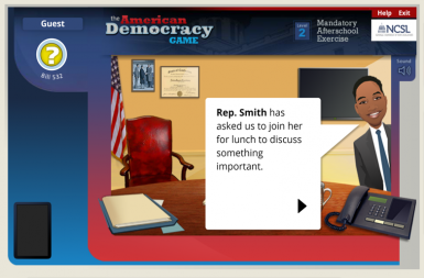 Screenshot of the The American Democracy Game project on a smart tablet