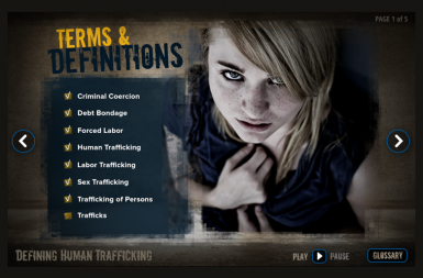 Screenshot of the Human Trafficking project on a smart tablet