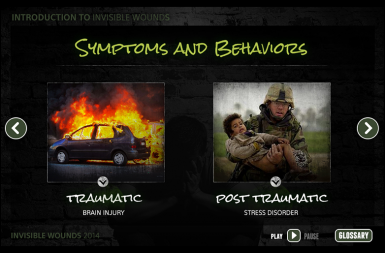 Screenshot of the Invisible Wounds project on a smart tablet