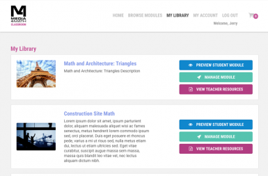 Screenshot of the Media4Math Classroom project on a smart tablet