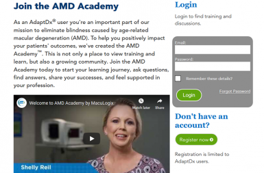Screenshot of the AdaptDx® Microlearning and Online Academy project on a smart tablet