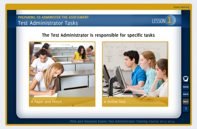 Screenshot of the Test Administrator Training project on a smart tablet