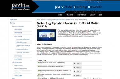 Screenshot of the PA Virtual Training Network (PAVTN) project on a smart tablet