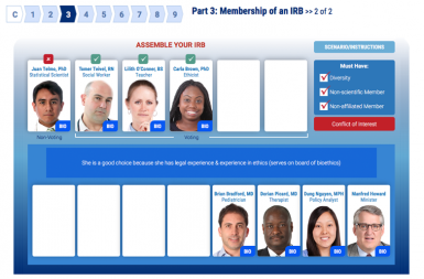 Screenshot of the Good Clinical Practice project on a smart tablet