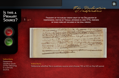 Screenshot of the Congressional Moments project on a smart tablet