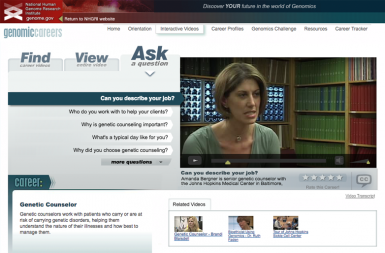 Screenshot of the Genomic Careers project on a smart tablet