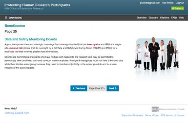 Screenshot of the Protecting Human Research Participants (NHGRI) project on a smart tablet
