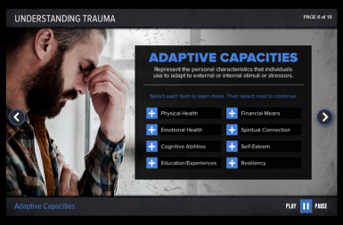 Screenshot of the Responding to Victims of Trauma project on a smart tablet