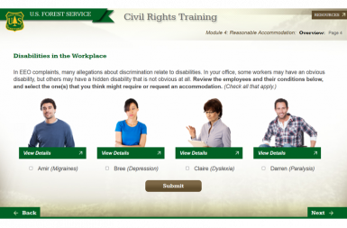 Screenshot of the Civil Rights Training project on a smart tablet