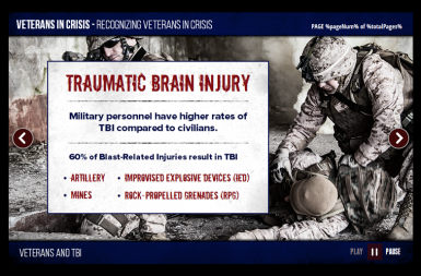 Screenshot of the Responding to Veterans in Crisis project on a smart tablet