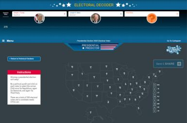 Screenshot of the Electoral Decoder project on a smart tablet