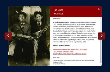 Screenshot of the Ken Burns Country Music Timeline project on a smart tablet