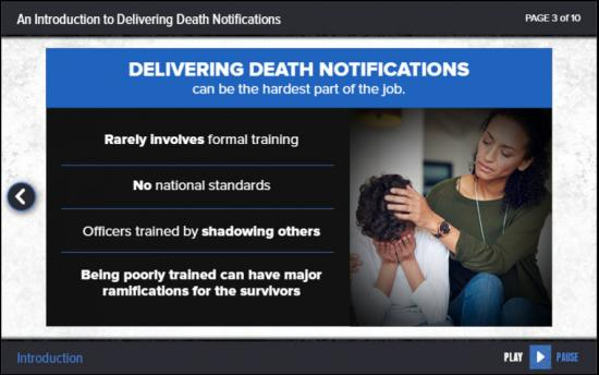 Screenshot of the Delivering Death Notifications project on a laptop computer