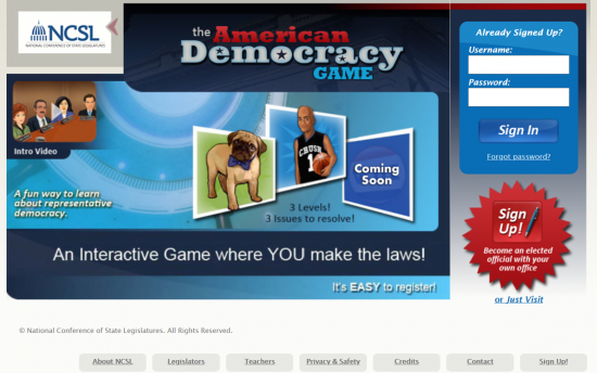 Screenshot of the The American Democracy Game project on a laptop computer