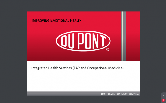 Screenshot of the Improving Emotional Health project on a laptop computer