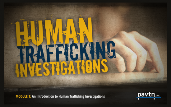Screenshot of the Human Trafficking project on a laptop computer