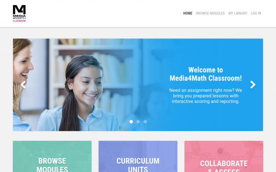 Screenshot of the Media4Math Classroom project on a laptop computer