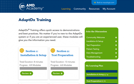 Screenshot of the AdaptDx® Microlearning and Online Academy project on a laptop computer