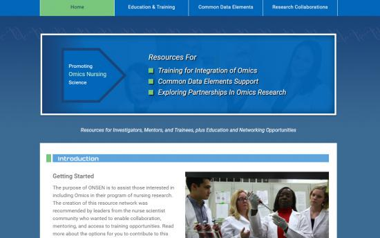 Screenshot of the Omics Nursing Network project on a laptop computer
