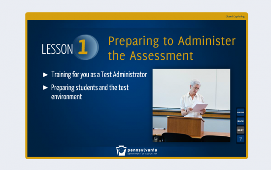 Screenshot of the Test Administrator Training project on a laptop computer