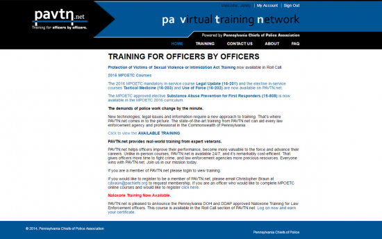 Screenshot of the PA Virtual Training Network (PAVTN) project on a laptop computer