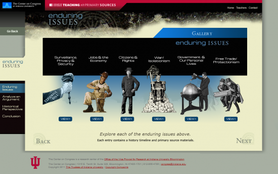 Screenshot of the Enduring Issues project on a laptop computer