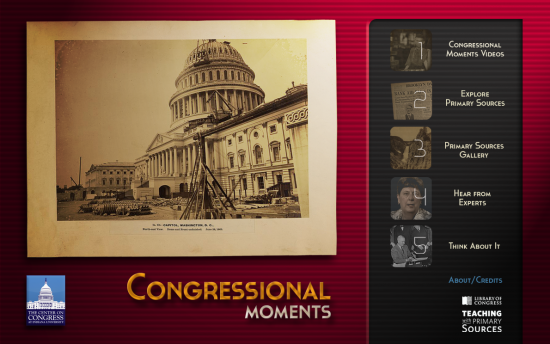 Screenshot of the Congressional Moments project on a laptop computer