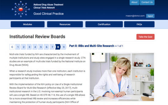Screenshot of the Good Clinical Practice project on a laptop computer