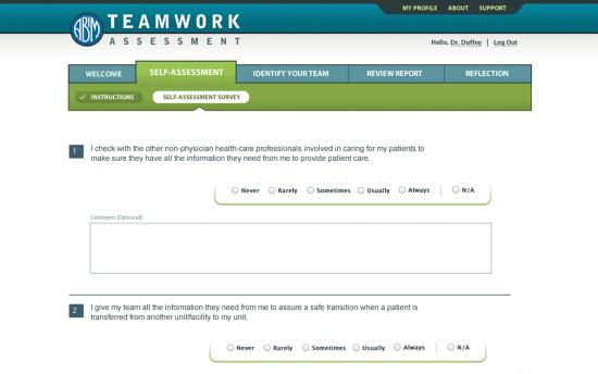 Screenshot of the TEAM: Teamwork Effectiveness Assessment Module project on a laptop computer