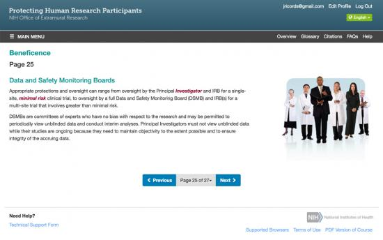 Screenshot of the Protecting Human Research Participants (NHGRI) project on a laptop computer