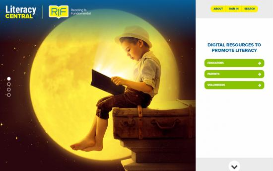 Screenshot of the RIF Literacy Central Portal project on a laptop computer