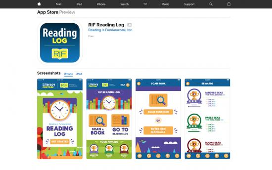 Screenshot of the Mobile App Encourages Kids to Read project on a laptop computer