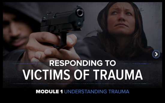 Screenshot of the Responding to Victims of Trauma project on a laptop computer