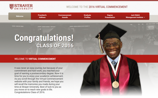 Screenshot of the Virtual Commencement project on a laptop computer