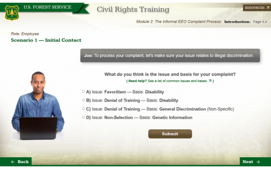 Screenshot of the Civil Rights Training project on a laptop computer