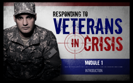 Screenshot of the Responding to Veterans in Crisis project on a laptop computer