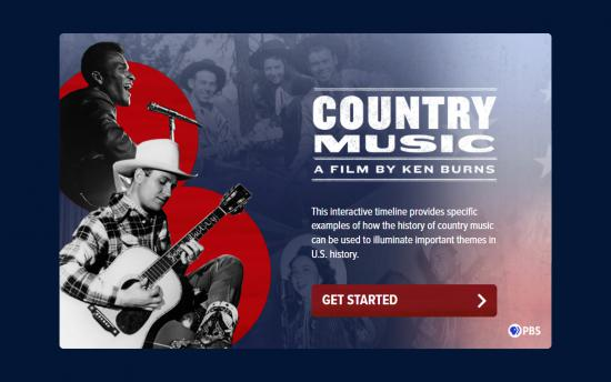 Screenshot of the Ken Burns Country Music Timeline project on a laptop computer