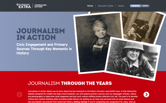 Screenshot of the Journalism in Action project on a laptop computer