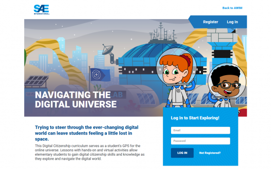 Screenshot of the Navigating the Digital Universe project on a laptop computer