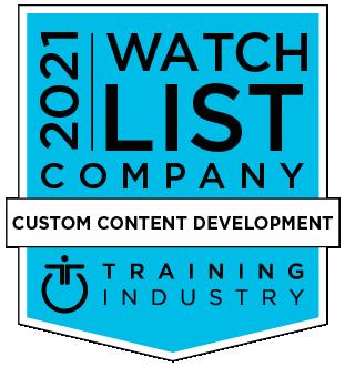 "Bade reading ""2021 Watch List Company – Custom Content Development – Training Industry"""